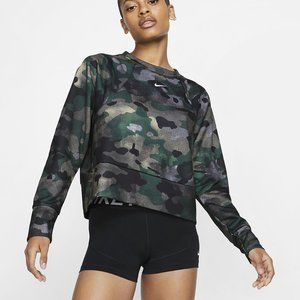NWT! NIKE Women's Dri-FIT Fleece Camo Training Top
